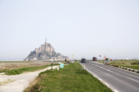 Mont Saint-Michel, France, April 7, 2011: viewed from the road that leads to it, Lower Normandy, France.