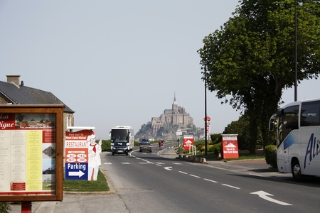Mont Saint-Michel, France, April 7, 2011: viewed from the distance, Lower Normandy,