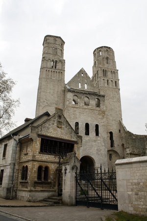 Jumieges, France, April 16 2011: The ancient Abbey of Jumieges, founded at 7th century, Seine-Maritime, Upper Normandy, France.