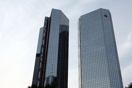 Frankfurt, Germany, August 14, 2010: Deutsche Bank Twin Towers in Frankfurt, Hesse, Germany. Editorial