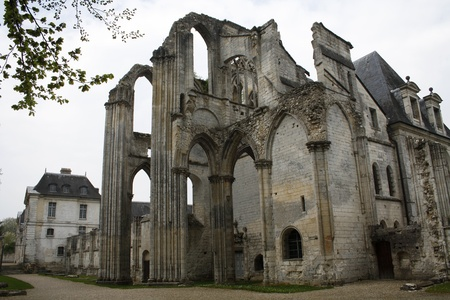 St. Wandrille, France, April 16, 2010: The ruined pavillion of the Abbey of Saint Wandrille, Upper Normandy, France. Editorial