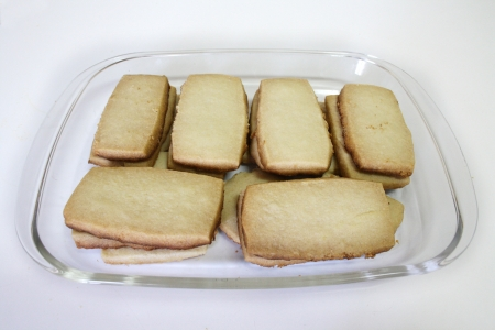 A box of hand-made shortbread, a scottish delicacy. Made from flour, sugar and butter.