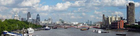 Panorama view of the Thames from the Embankment, London, UK