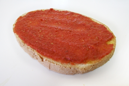 spanish style: Bread toast with tomato sauce. Catalonian and Spanish style.