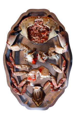 Prepared Crab on a plate, ready to eat