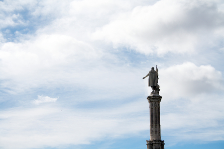 The statue of the America´s discoverer Christopher Columbus, at a square in Madrid that honoured him.
