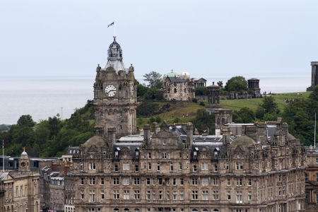 The Balmoral Hotel with Calton Hill behind, Edinburgh, Scotland