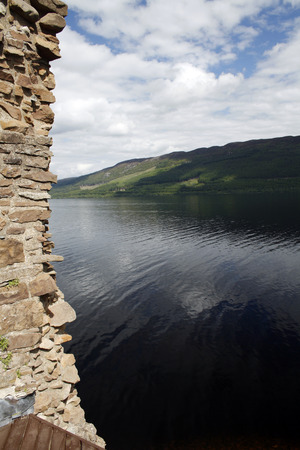 View of the legendary Loch Ness from Urquhart Castle, Scotland  Stock Photo