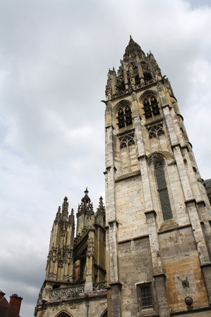 Tower of the Caudebec-en-Caux Church, Flamboyant style, late gothic  Valley of the Seine,Upper Normandy, France