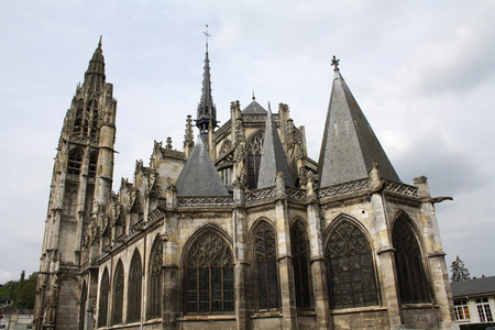 View of the flamboyant church of Caudebec-en-Caux, Upper Normandy, France  Stock Photo
