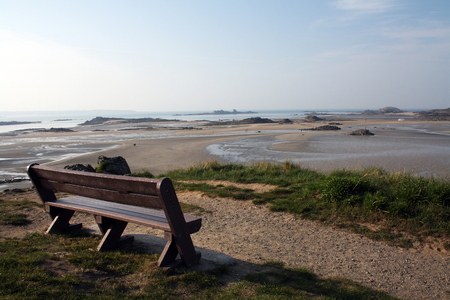 Bench in the seaside of Saint-Jacut-de-la-Mer, Côtes-d