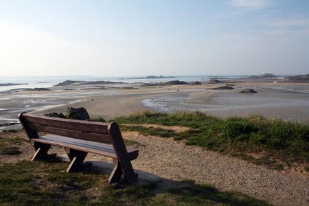 Bench in the seaside of Saint-Jacut-de-la-Mer, Côtes-d