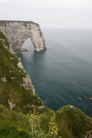 View of the cliff La Manneporte in Etretat, Upper Normandy, France