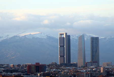The Madrid skyline with the mountains in the distance, Spain
