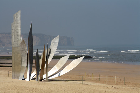 Les Braves Memorial at Omaha Beach near Saint-Laurent-sur-mer, Normandy, France.