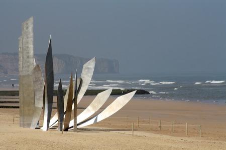 omaha: Les Braves Memorial at Omaha Beach near Saint-Laurent-sur-mer, Normandy, France.