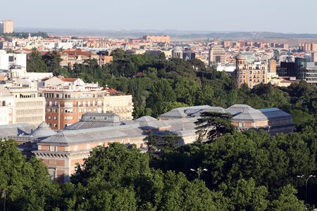 Aerial view of the Prado Museum building, Madrid, Spain.
