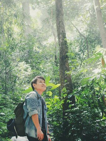 Travel hiking and ecotourism concept from asian traveler with backpack exploring the beautiful tropical rainforest and enjoying see nature view with sunlight through trees.