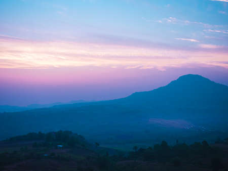 Beautiful mountain view in the morning at khao kho, Phetchabun Province, Thailand
