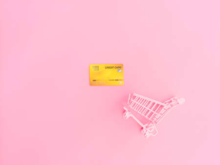 shopping and payment concept from small trolley and credit card on pink pastel color background.