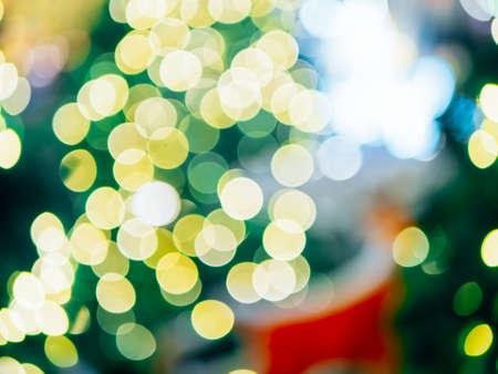 Abstract blur of night bokeh light on Christmas tree Stock Photo