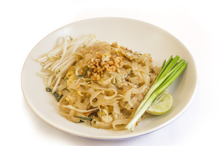 """beansprouts: a Thai dish based on rice noodles. """"The staple pad thai (rice noodles with eggs, beansprouts and toasted peanuts) was suitably hot-sweet and once more studded with big bouncy prawns."""" Stock Photo"""