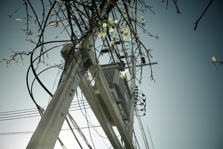 outage power: Transformers of an electrical post with powerlines