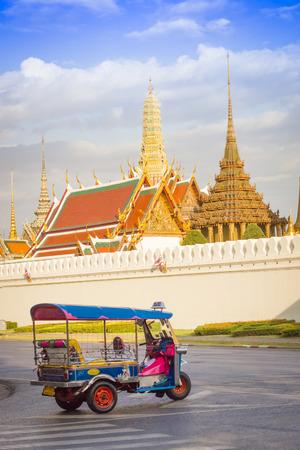 tuk tuk: Tuk Tuk taxi waiting customers about Wat Phra Kaeo Bangkok