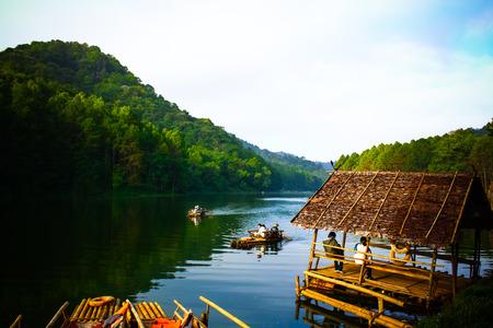 pang: pang ung , reflection of pine tree in a lake , meahongson , Thailand Stock Photo
