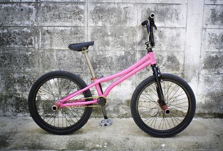 flatland: bmx flatland bike with pink color