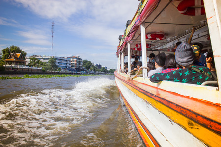 boat: the Tourism and travel in Bangkok by the Chao Phraya Express Boat.