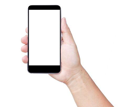 Smartphone con pantalla táctil, en la mano