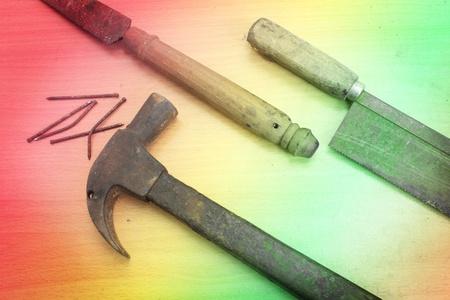 Carpenter old rusty tools Stock Photo