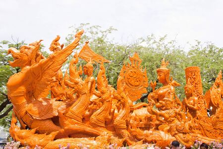 candle festival carving thai art Stock Photo