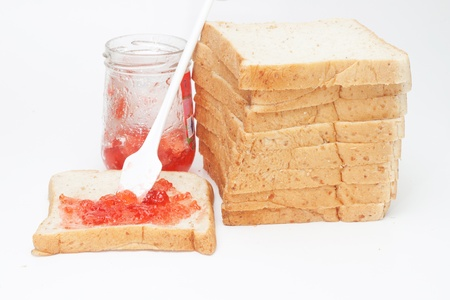 Strawberry jam bread with berry flavors. Stock Photo