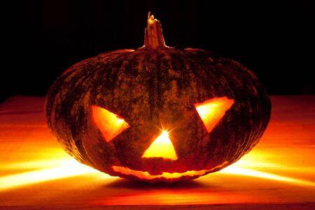 Halloween pumpkin  on black background.