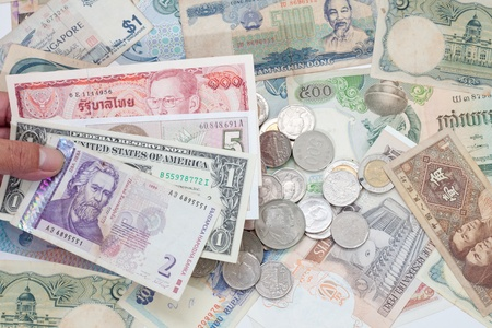 currency around the world banknotes and coins Stock Photo
