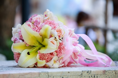 beautiful  bouquet of pink roses before wedding Stock Photo