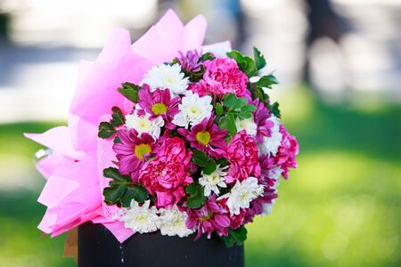 valentinas: beautiful  bouquet of pink flower before wedding Stock Photo