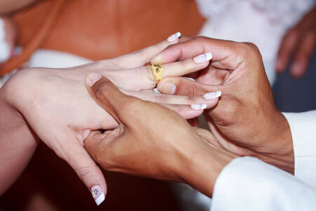 Hands and rings on wedding Stock Photo