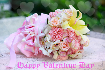 valentinas: beautiful  bouquet of pink roses before wedding and valentine Stock Photo