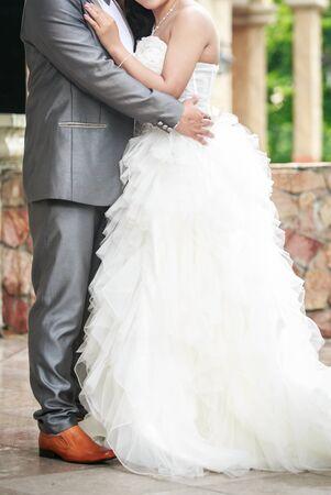 in unison: Beautiful wedding couple is enjoying wedding