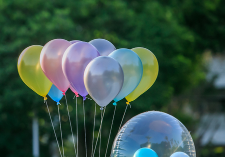 background  of many colorful balloons outdoors Stock Photo