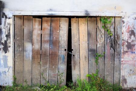 Closed doorway Old wooden door background Stock Photo