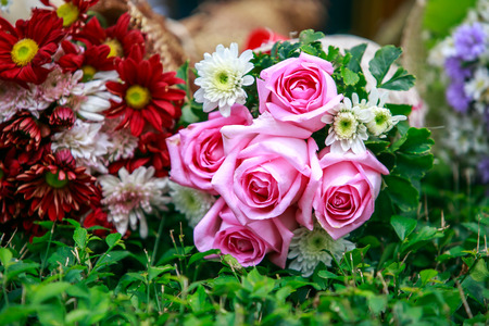 valentinas: beautiful bouquet of pink roses before wedding