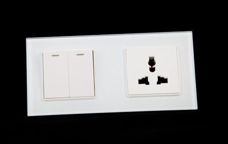 Electrical switch and power socket Stock Photo