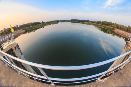 reservoir and door of a dam Stock Photo