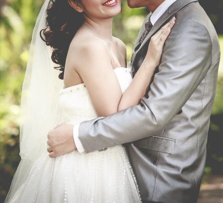 beautiful wedding couple is enjoying wedding Stock Photo