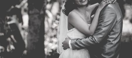 in unison: beautiful wedding couple is enjoying wedding Stock Photo