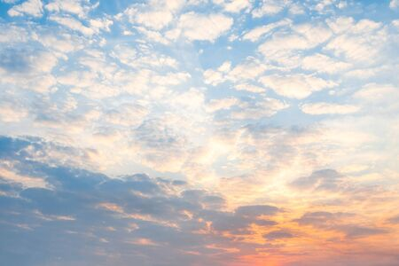 Beautiful morning sky, colorful light of morning clouds, conceptual background image Stock Photo